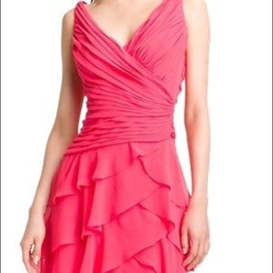 Tadashi Pink Tiered Silk Chiffon Ruffle